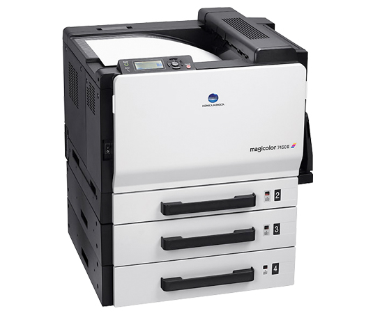 Konica Minolta magicolor 7450 II office color printers produce extraordinary image quality - in color or B&W and are equipped to handle a diverse range media to suit your business printing needs. Service Business Equipment can service, rent or repair this copier and many other copiers, copy machines, printers and scanners